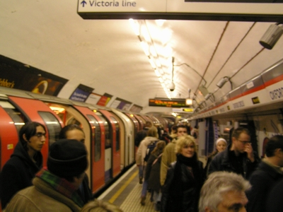 Busy Central line platform at Oxford Circus tube station
