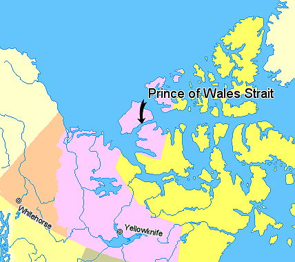 Map indicating Prince of Wales Strait, Northwest Territories, Canada