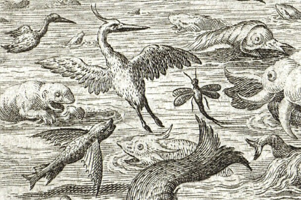 Jan Sadeler after Maarten de Vos Heron Mayfly Flying Fish 1587