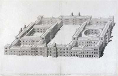 Ingo Jones plan for a new palace at Whitehall 1638