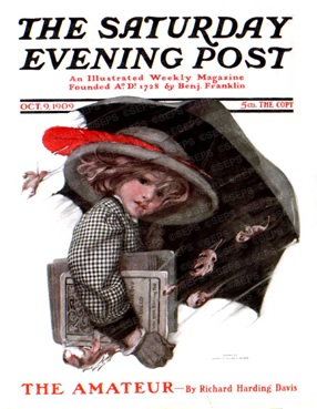 Sarah Stilwell Weber, Girl with Schoolbooks Walking in Rain with Umbrella, Saturday Evening Post, October 9, 1909