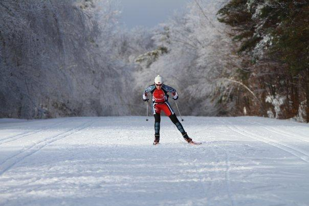 Olympic skier in ice storm