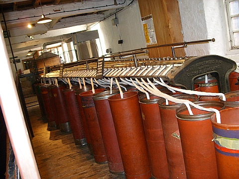 Restored primary level spinning machine at Quarry Bank Mill