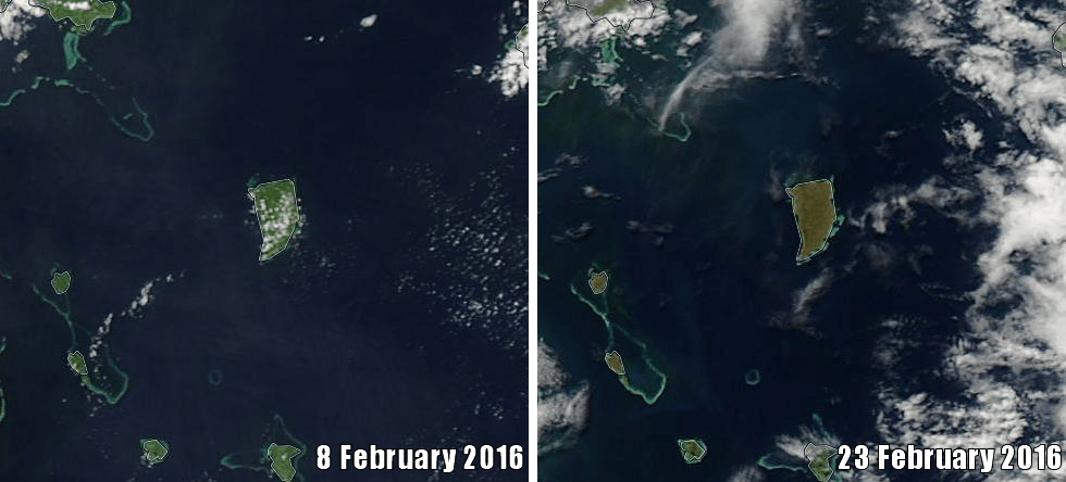 Koro Island, Fiji, before and after Cyclone Winston 2016