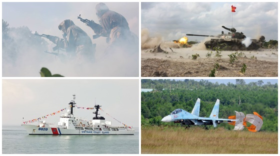 Photographs of Vietnam People's Armed Forces weaponry assets including a T-54B tank, a Sukhoi Su-27UBK fighter aircraft, a Vietnam Coast Guard Hamilton-class cutter, and a Vietnam People's Army chemical corps carrying a Type 56 assault rifle.