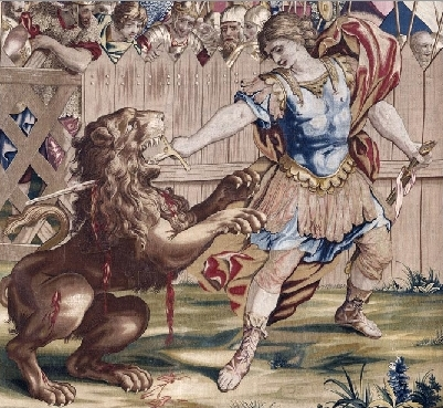 Constantine Slaying the Lion (tapestry) - 1637, detail