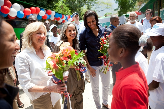 Michelle Obama and Jill Biden in Haiti 2010