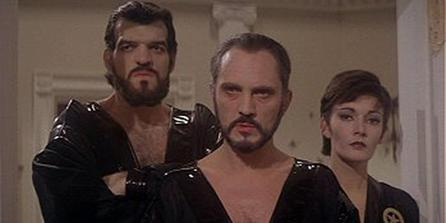 General Zod, Non (both bearded) and Ursa in the film Superman II.