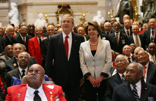 Bush and Pelosi at Tuskegee Airmen ceremony