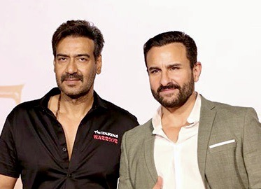 Ajay and Saif pose together for the camera