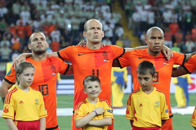 Sneijder, Robben and de Jong Netherlands-Germany Euro 2012