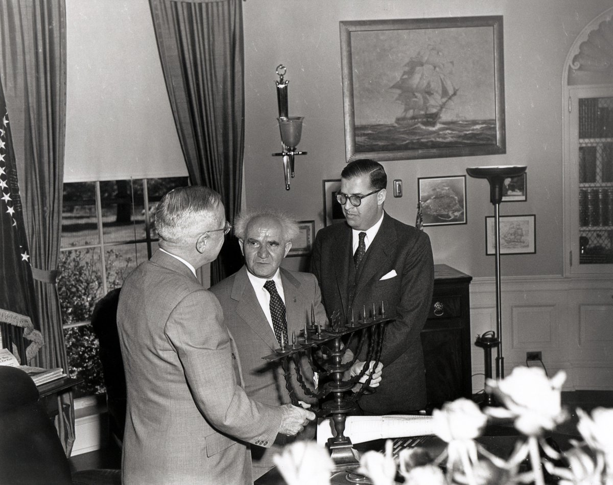 Truman receives menorah