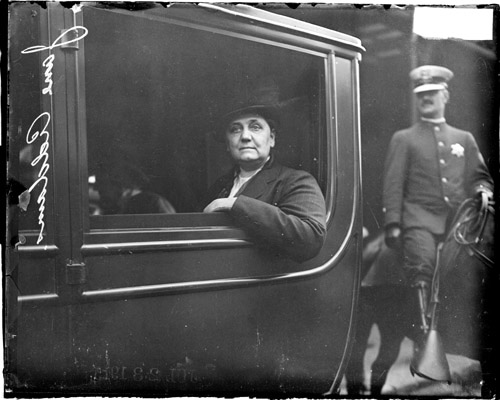 Jane Addams in a car