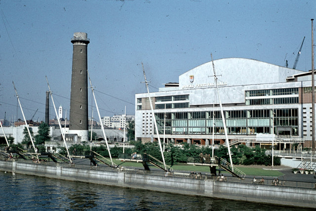 Royal Festival Hall and Shot Tower c1959