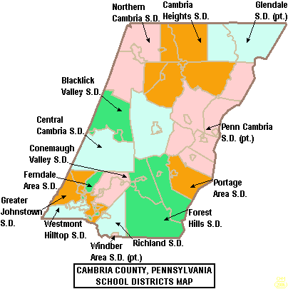 Map of Cambria County Pennsylvania School Districts