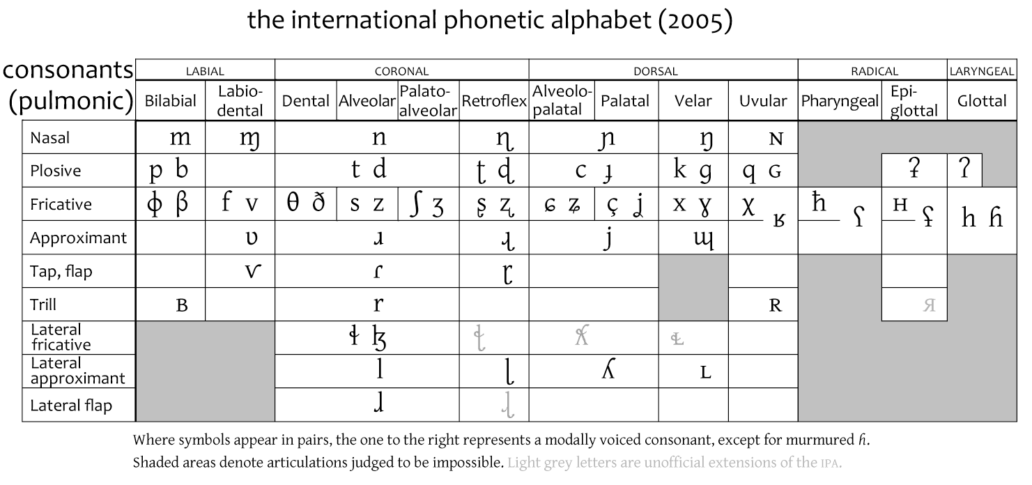 Stop consonant facts for kids - International phonetic alphabet table ...