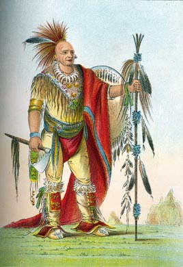 Native American chief in regalia