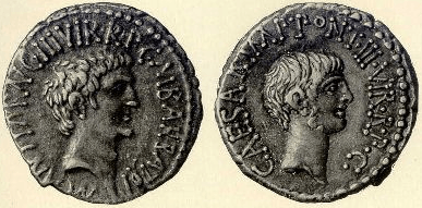 Coin Octavianus and Mark Antony