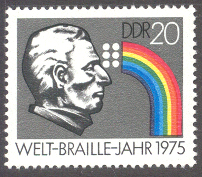 Profile of Braille with a rainbow emanating from his eyes