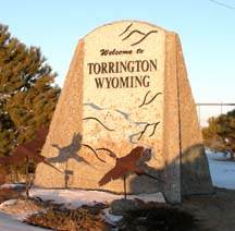 Sign welcoming visitors to Torrington (2006)