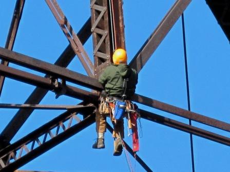 Close up of engineer on Rosendale trestle