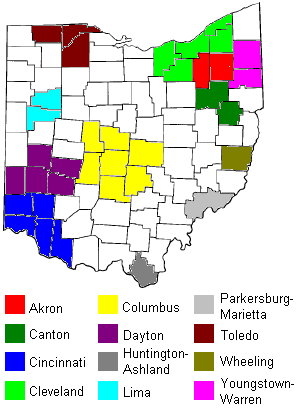 Map of radio markets in Ohio