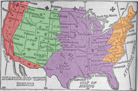 Time zone map of the United States 1913 (colorized)