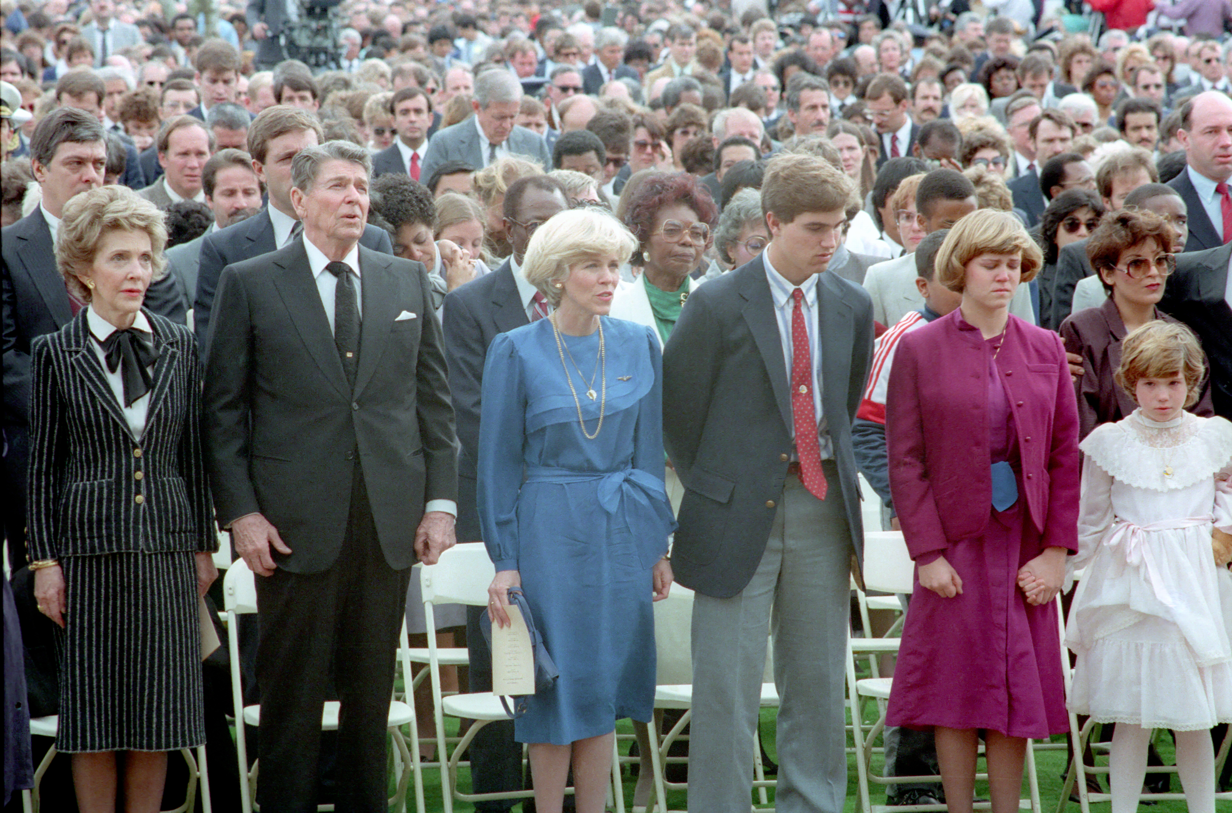 Reagans attend Challenger memorial service
