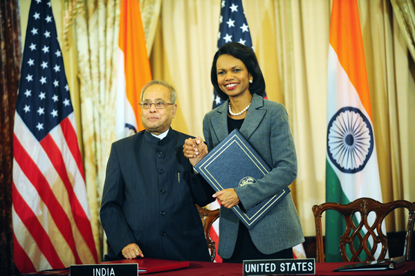 Rice-Mukherjee sign US-India Civilian Nuclear Cooperation Agreement
