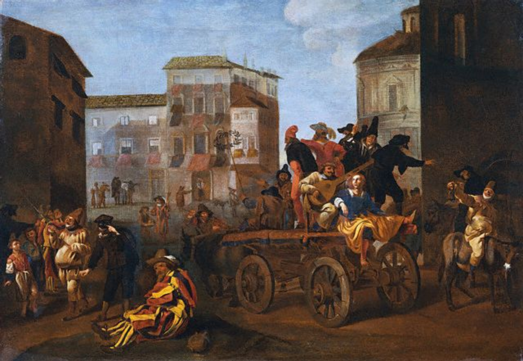 Jan Miel – Actors from the Commedia dell'Arte on a Wagon in a Town Square