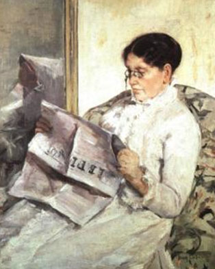 "Mary Cassatt, Reading ""Le Figaro"", 1878, Collection Mrs. Eric de Spoelberch, Haverford, Pennsylvania"