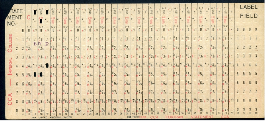 "FORTRAN Port-A-Punch card. Compiler directive ""SQUEEZE"" removed the alternating blank columns from the input. Godfrey Manning."