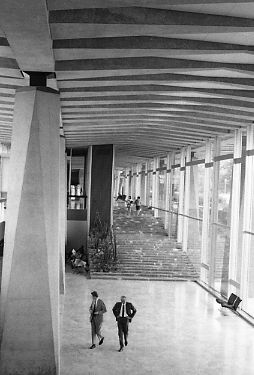 Patio of World Health Organization headquarters building, 1969