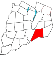 Otsego County map with the Town of Maryland in Red