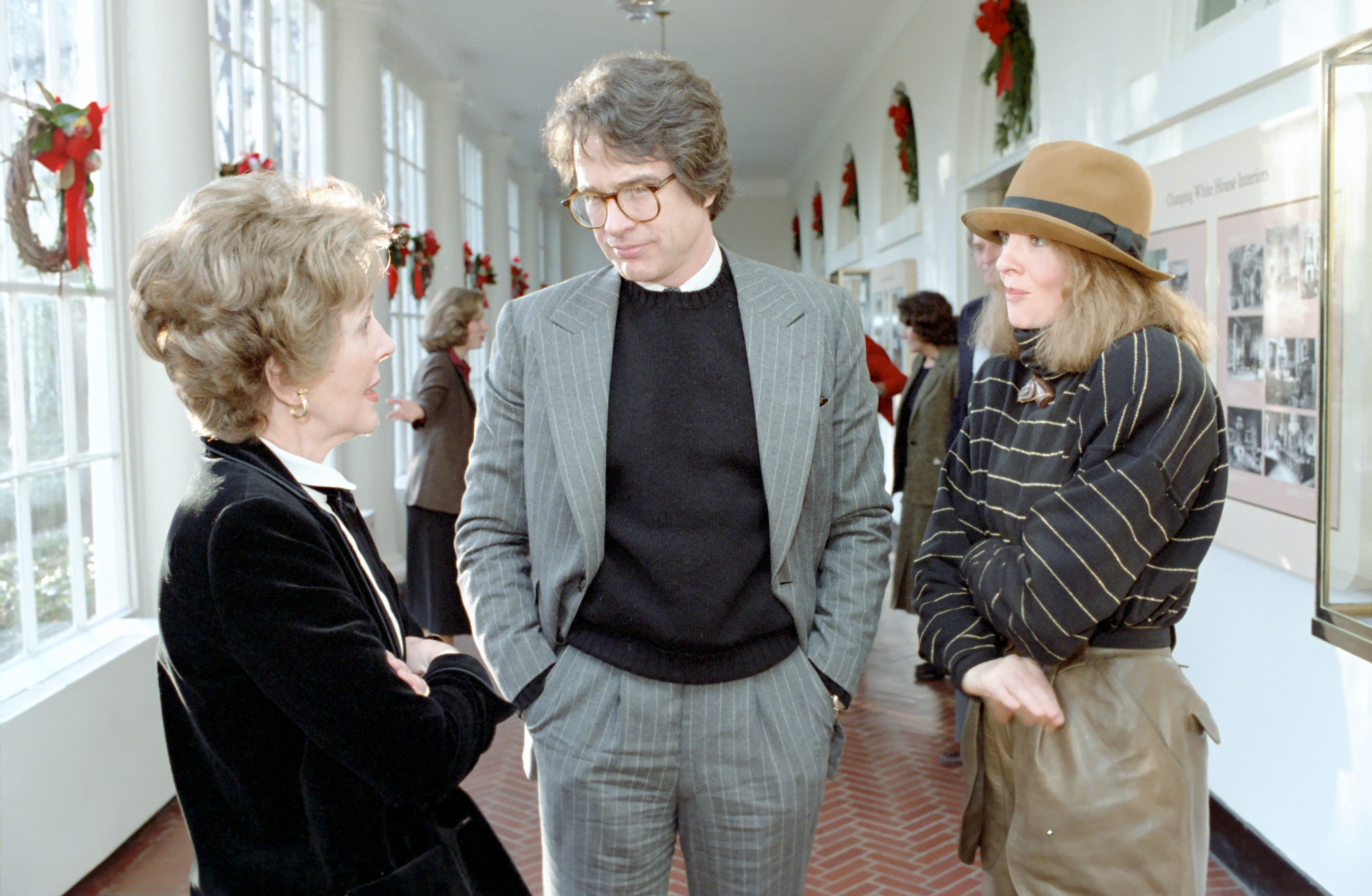 Nancy Reagan with Warren Beatty and Diane Keaton 1981