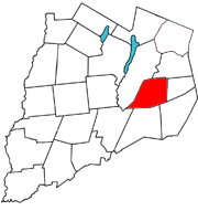 Otsego County map with the Town of Westford in Red