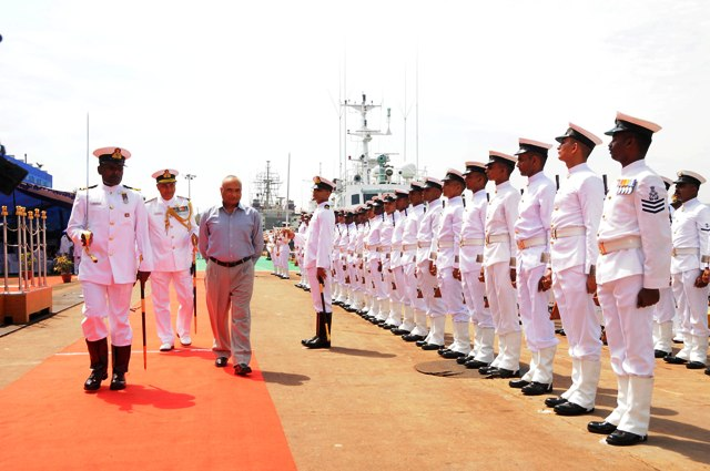 Defence Secretary RK Mathur inspects the Guard of Honour at the commisssioning of ICGS Rajveer