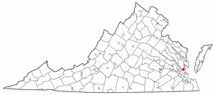 Location of Yorktown in Virginia