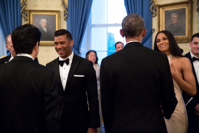 Obama & Abe Greet Russell Wilson & Ciara 2015
