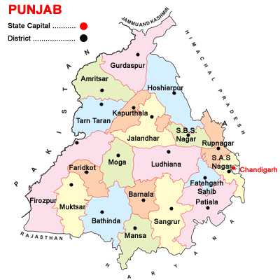 Punjab district map 2014