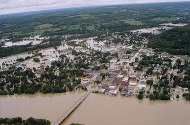 Aerial view of downtown Owego after record flooding from Tropical Storm Lee, September 2011