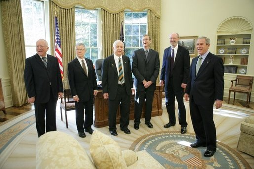George W. Bush meets with the 2005 Nobel Prize recipients