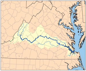 A map of the James River watershed