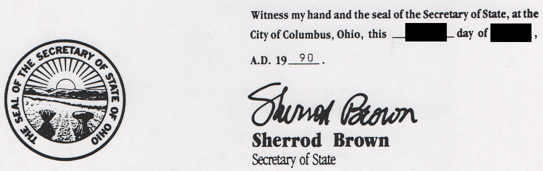 State of Ohio Secretary of State Sherrod Campbell Brown Signature