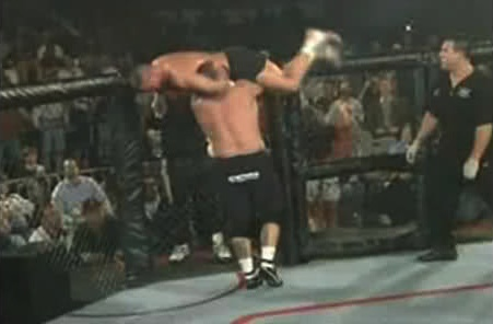 Worsham nearly thrown from cage