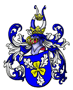 Azure, a trefoil Or with three oak leaves argent