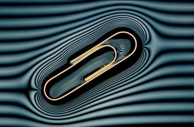 Paperclip floating on water (with 'contour lines')