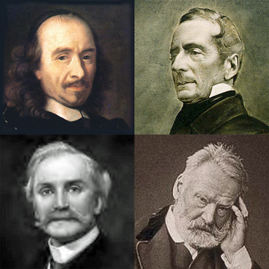 head and shoulders portraits of three 19th-century and one 20th-century writers, all of middle age