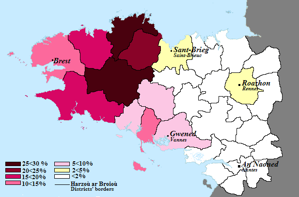Percentage of breton speakers in the breton countries in 2004