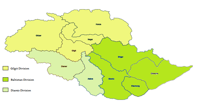 Gilgit Baltistan Administrative divisions and districts